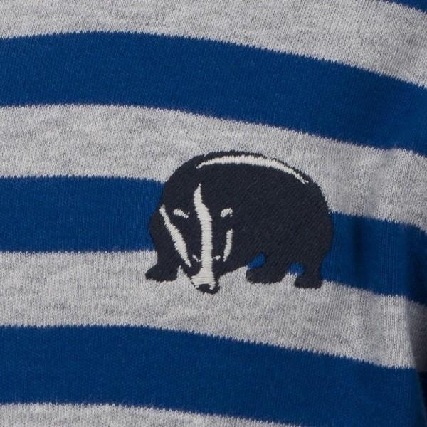 Langarmshirt für Jungen - kühle Tage blau mit Dachs