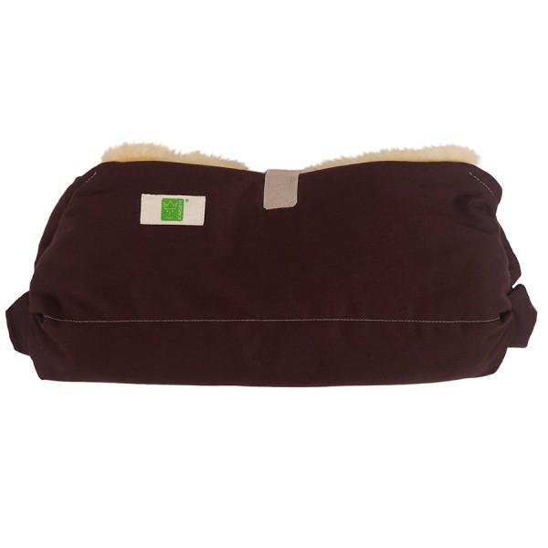 Lammfell Handwärmer für den Kinderwagen braun