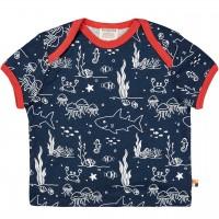 Leichtes Kurzarm Shirt Meereswelt dunkelblau