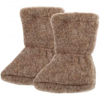 Wolle Babyschuhe als Socke in walnuss-braun