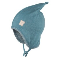 Wolle Seide Zipfelmütze doppellagig atmungsaktiv blau