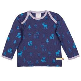 Wolle Baumwolle Shirt Waldtiere marine