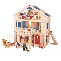 Vorschau: Puppenhaus mit verstellbarer Treppe und Balkon - Vollholz