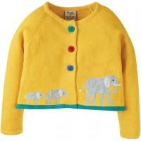 Strickjacke gelb mit Elefanten