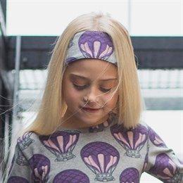 Haarband mit Gummierung Ballon in grau und lila