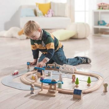 Holzeisenbahn Set - ökologische Stadt
