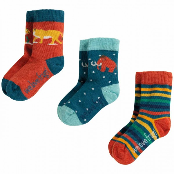 Baby Socken 3er Set orange-blau