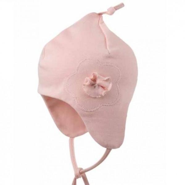 Leichte Zipfelmütze für Babys hinten ohne Naht - rosa