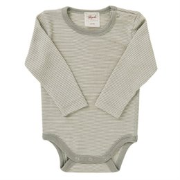 Wolle Seide Baby Body grau gestreift