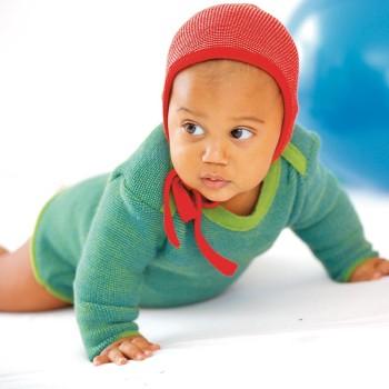 Baby Pullover Melange Schlupfkragen grün