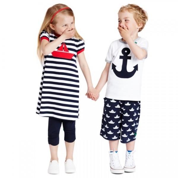 3/4 Kinder Leggings - schicke Raffung am Knie - navy