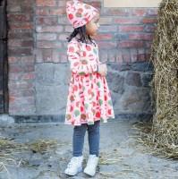 Langarm Kleid rosa Äpfel