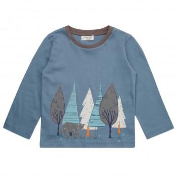 Langarmshirt in blau mit Wald-Druck