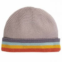Strickmütze Baby Regenbogen-Optik in grau
