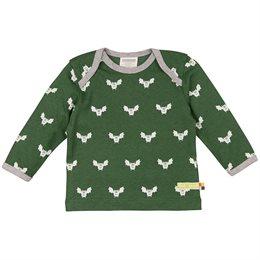 Wolle Baumwolle Shirt Fledermaus grün