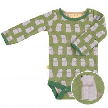 Body langarm Murmeltier Print grün