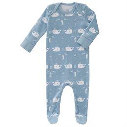 Schlafanzug Strampler blau Wale