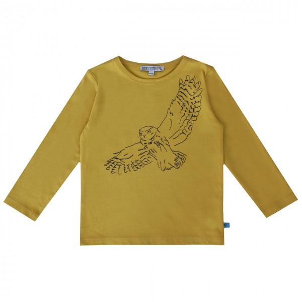 Bio Shirt langarm Stickerei Eule curry-gelb