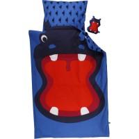 Nilpferd Bettwäsche 135x200 blau