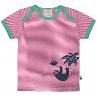 Leichtes Ringel Kurzarm Shirt pink Tiermotiv