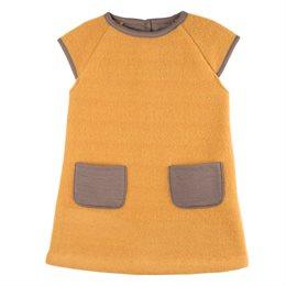 Mädchenkleid warmer dicker Woll-Fleece honig