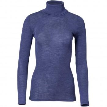 Damen Wolle Seide Rollkragenshirt kobaltblau