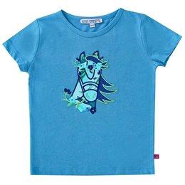 Pferde Shirt kurzarm blau