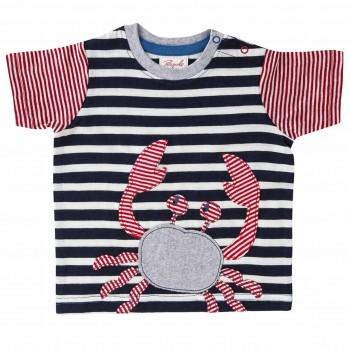 T-Shirt mit Krabben Aufnäher rot navy