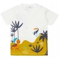 Shirt kurzarm Dschungel in grün weiß