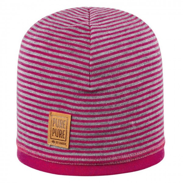 Wolle Seide Beanie doppellagig atmungsaktiv pink