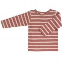 Shirt Langarm altrosa-beige gestreift