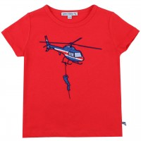 Edles T-Shirt Helikopter Aufnäher in rot