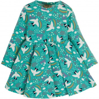 Body + Kleid 2in1 Vogel-Motive