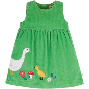Grünes Cordkleid Gans ohne Arm