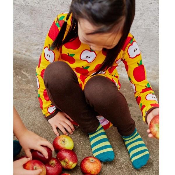 Süsses Apfel Ballonkleid langarm mit Taschen