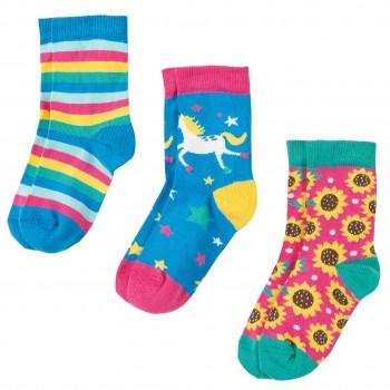 Baby Socken 3er Pack Einhorn in blau
