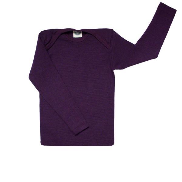 Atmungsaktives Wolle Seide Shirt pflaume lila