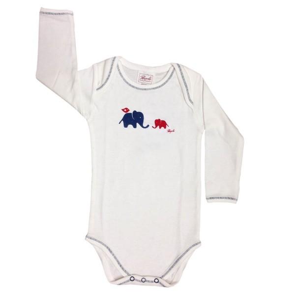 Süsser Bio Babybody langarm mit blauem Elefanten - neutral