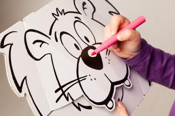 masken lowe und tiger zum stecken malen spielen