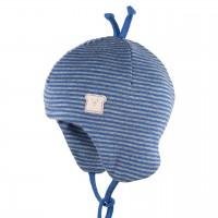 Erstlingsmütze Wolle Seide blau Doppellagig