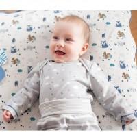 Süsser Bio Babybody langarm grau mit Wolken - neutral