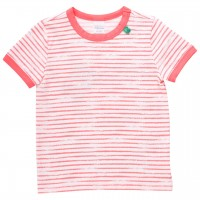 Shirt kurzarm Streifen-Muster koralle
