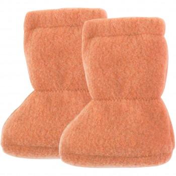 Wolle Babyschuhe als Socke in pfirsich