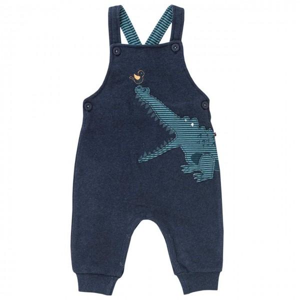 Sweat Latzhose Krokodil dunkelblau melange