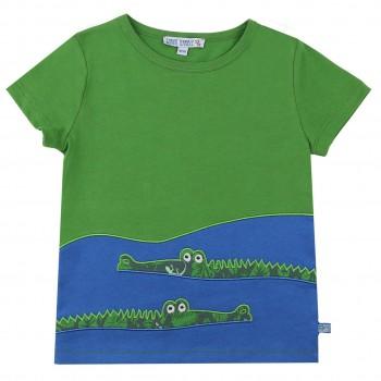 Edles T-Shirt Krokodil Aufnäher in grün