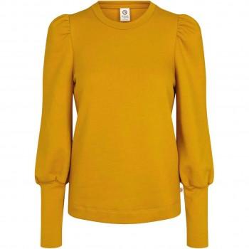 Damen Sweat Pullover mit Puffärmeln in senf
