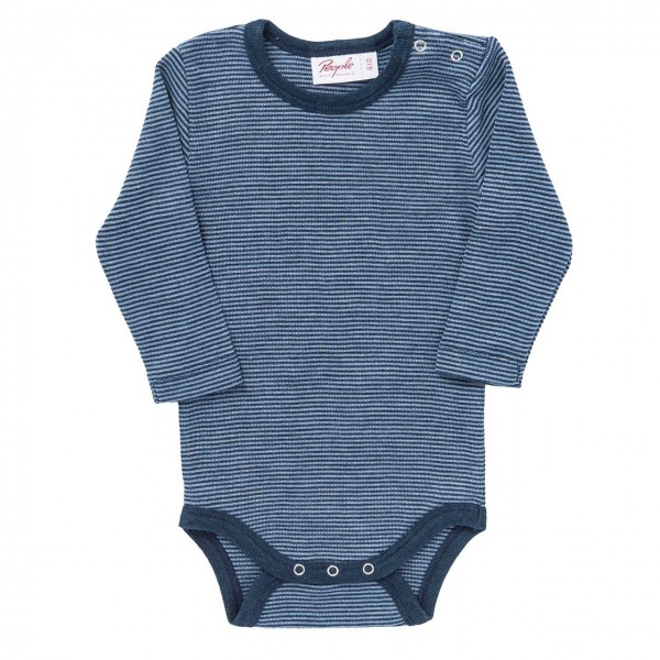 Wolle Seide Body langarm in navy ringel