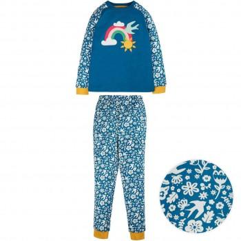 Schlafanzug mit Blumen All-Over-Druck
