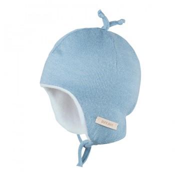 Plüschige warme Mütze Winter denim-blau