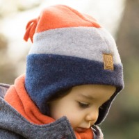 Jungen Fleece Wintermütze grau-blau-orange